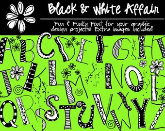 Fonts - Black & White Affair - black and white font - instant download
