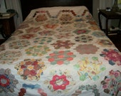 SALE - UNIQUE grandmother flower garden patchwork quilt top