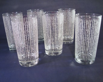 Six Mod Cocktail Glasses with Beading