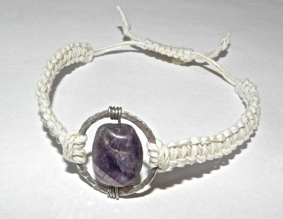 Adjustable Amethyst Stone Fine Silver Hemp Bracelet