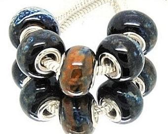 Black European Charm Beads, Big Hole Beads,  Black Ceramic European Beads