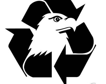 "Recycle Symbol w/ Eagle Head 5"" Vinyl Decal Widow Sticker for Car, Truck, Motorcycle, Laptop, Ipad, Window, Wall, ETC"
