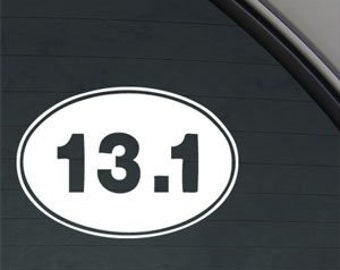 "13.1 Marathon Runner Euro Oval 5"" Vinyl Decal Widow Sticker for Car, Truck, Motorcycle, Laptop, Ipad, Window, Wall, ETC"