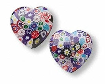 Millefiori Blue / Multi Glass Heart Station Beads