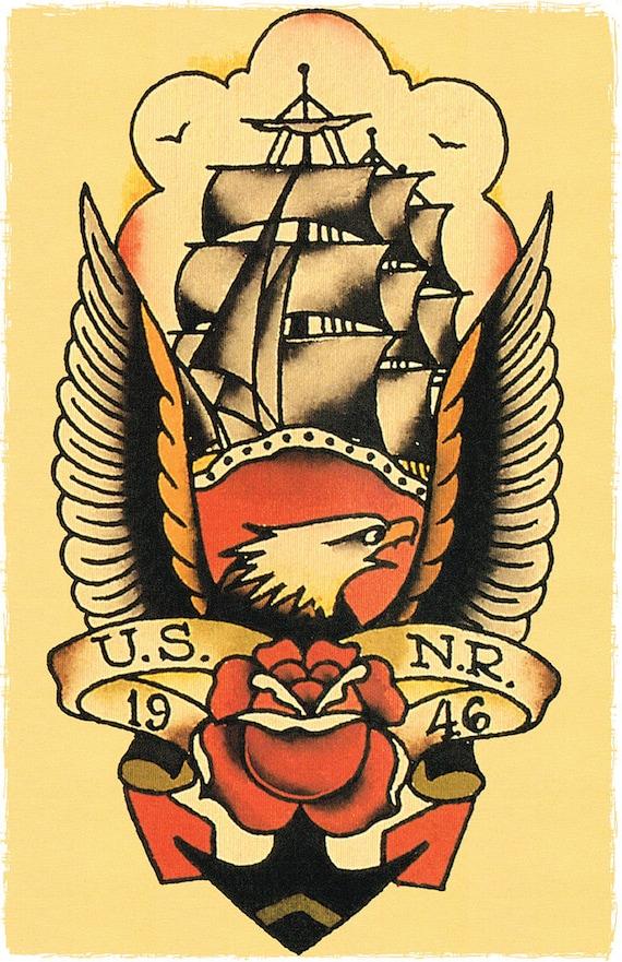 11 x 17 bald eagle ship us nr 1946 navy boat sailor jerry