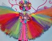 Colorful Tutu with Cheetah Bow and matching Hair Bow for infants, toddlers, and girls, Birthday Tutu - BellaKumariBows