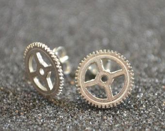 Sterling Silver Small Open Gear Stud Earrings -   Minimalist steampunk post earrings, no nickel, edgy industrial style with  unisex appeal!