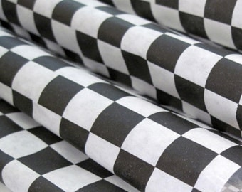 """Wax Paper-25 Sheets of Black and White Checkered Wax Paper-Deli Sandwich Wrap-Box and Tray Paper Liners-Black Plaid Wrapping Paper 12"""" x 12"""""""