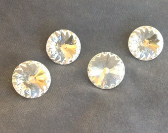 """Crystal button set. Swarovski faceted clear crystal button. 11/16"""" (17mm) 4 pcs."""