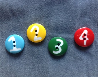 "Number buttons. Bright color buttons. Numbers 1, 2, 3, 4. Size 3/4"" (20mm) 1 set"