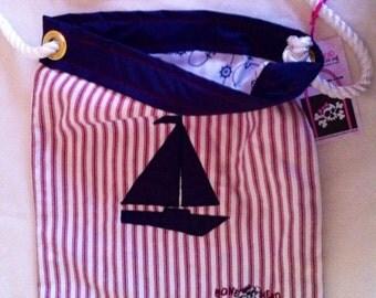 Nautical Stripes Sailboat tote