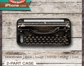 Vintage Dark Brown Black Typewriter - iPhone 6, 6+, 5 5S, 5C, 4 4S, Samsung Galaxy S3, S4