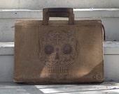 Leather Portfolio with Skull Design on side. -  Día de los Muertos - Day of the Dead