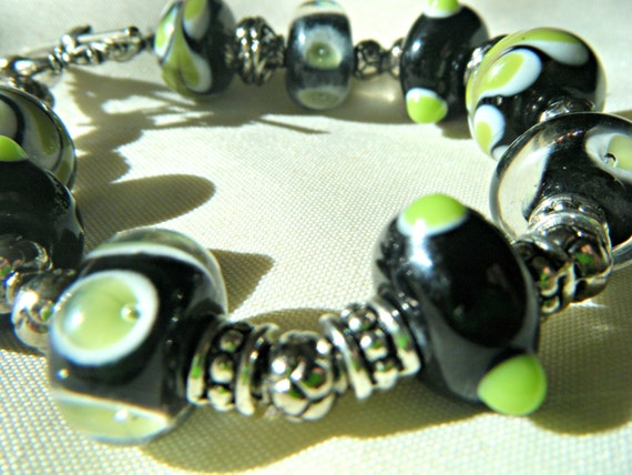 Glass Lampwork Bracelet Evening Garden in Green, Black, and Silver