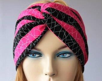 Twisted headband,Turban Headband ,gypsy turban,Head beand,ear warmer , extra wide , striped