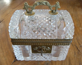Brillant Cut Crystal Hinged Dome Top Jewelry Chest