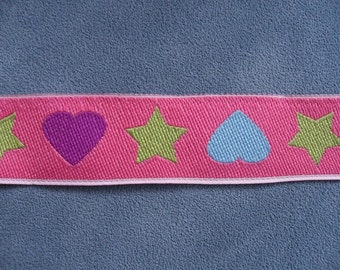 """Woven Ribbon """"Star and Hearts"""" 23 mm w."""