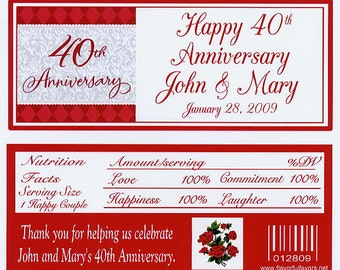 40th Anniversary party favors candy wrappers customized