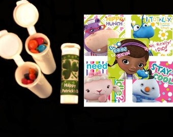 10 Doc McStuffin stickers and 10 candy/crayon tubes party favors