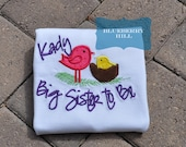 PERSONALIZED Embroidered Big Sister to Be Baby Announcement Shirt with Birds