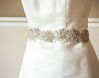 Bridal sash - May Silver  24 inches (Made to Order)