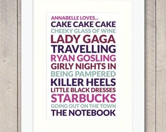 Personalised 'Loves' Print