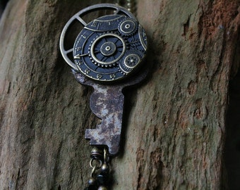 clock gear and rustic key with beaded detail