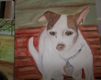 the painting is oil on canvas of Quete a chihuahua
