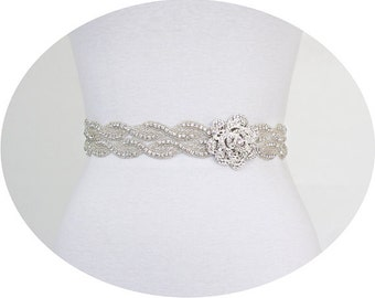 SALE - TRINITY -  Flower Crystal Rhinestone Bridal Belt, Wedding Dress Rhinestone Sash, Bridal Crystals Belts