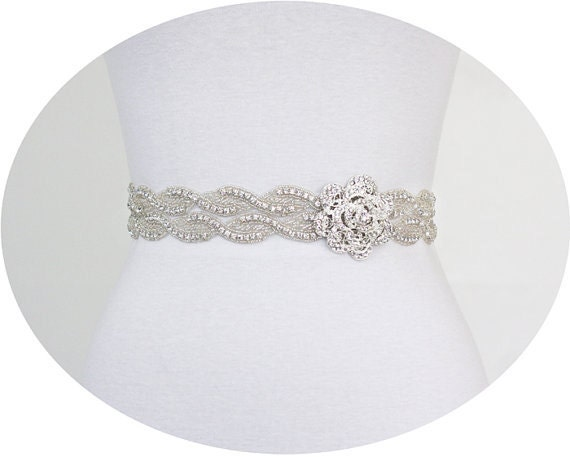 VERONICA -  Flower Crystal Rhinestone Bridal Belt, Wedding Dress Rhinestone Sash, Bridal Crystal Belts