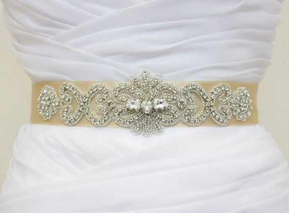 JULIA - Lovely Vintage Inspired Heart Shape and Flower Wedding Crystal Rhinestone Belt, Bridal Beaded Sash, Wedding beaded Belt