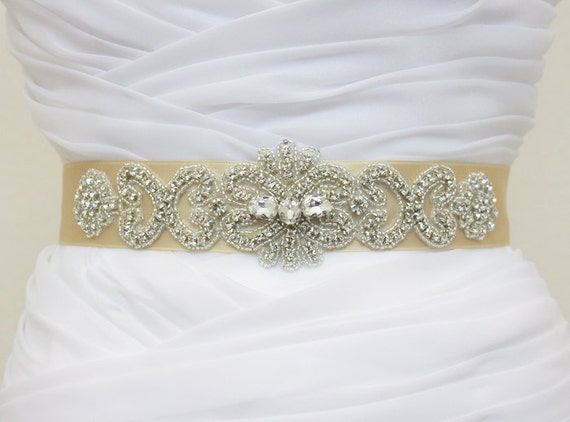 JULIA - Lovely Vintage Inspired Heart Shape and Flower Wedding Crystal Rhinestone Belt, Bridal Beaded Sash, Wedding beaded Belt