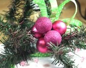 Pink and Green evergreen Christmas Tree pick / repurposed christmas tree / decorated floral pick / wedding bouquet