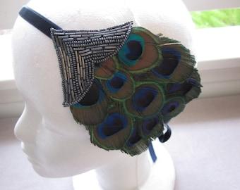 Blue dress headband, Blue Feather,  Pewter Beaded Fascinator Navy Blue Velvet Ribbon