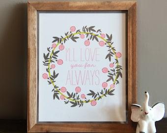Baby Nusery Decor Art Print Love Design, Nursery Decor Art Print 8x10 - Love Always