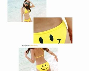 Womens & Girls Yellow Smiley Face Bikini, Swimwear, Beach