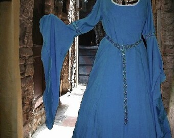 FREE SHIP Costume Gown Medieval Renaissance Fantasy SCA Garb Cadet Blue Cotton LoTR lxl