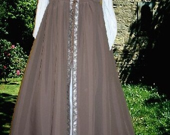 FREE SHIP Medieval Renaissance SCA Garb Gown Irish Style Milk Chocolate Ctn FrntLacing lxl