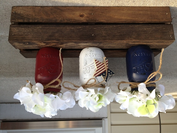 Red White and Blue Rustic Hand painted Mason Jars