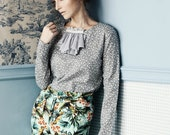 Grey floral-print  Cotton blouse with long sleeves & Ruffle jabot