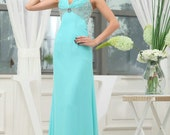 Custom Handmade Sky Blue Straps Empire Beaded Sequin Sheath Ruched Formal Long Evening/Prom/Party/Bridesmaid/Homecoming/Cocktail Dress Gown