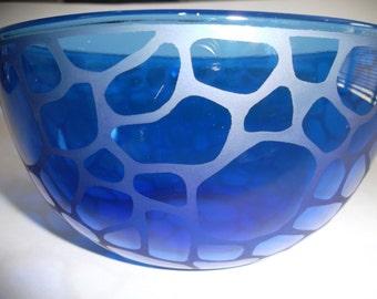 Etched glass bowl.  Cobalt blue, wedding gift, serving bowl, candy dish.
