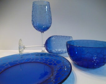 Wine glasses, plate, and bowl set.  Etched, cobalt blue glass, wedding gift, entertaining.