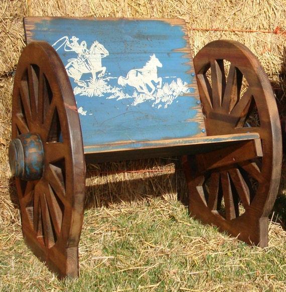 Kid s wooden wagon wheel buckboard chair by