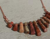 Natural Flame Jasper Stick Bead Necklace with Copper Chain & Details