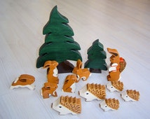 pdf patterns / tutorial for 10 different wooden animals in Waldorf style, DIY - Easter bunny, rabbit, hedgehog, fir