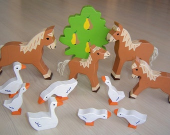 pdf patterns / tutorial for 10 different wooden animals in Waldorf style, DIY - horse, foal, goose, geese, tree