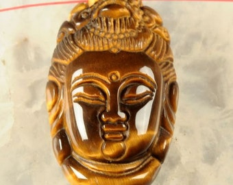 G0694 Golden tiger's eye buddha pendant focal bead 40mm