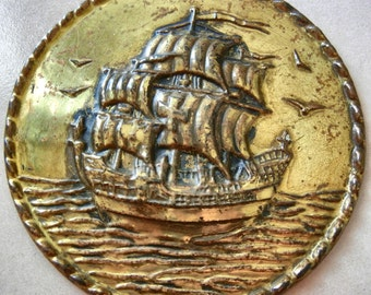 Ship at Sea With Seagulls Vintage Decorative Tin Relief Wall Hanging Plate