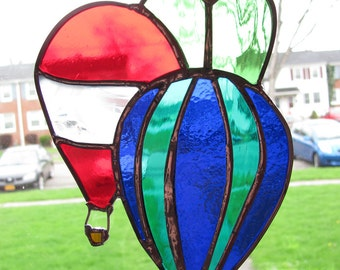 Hot Air Balloons stained glass suncatcher